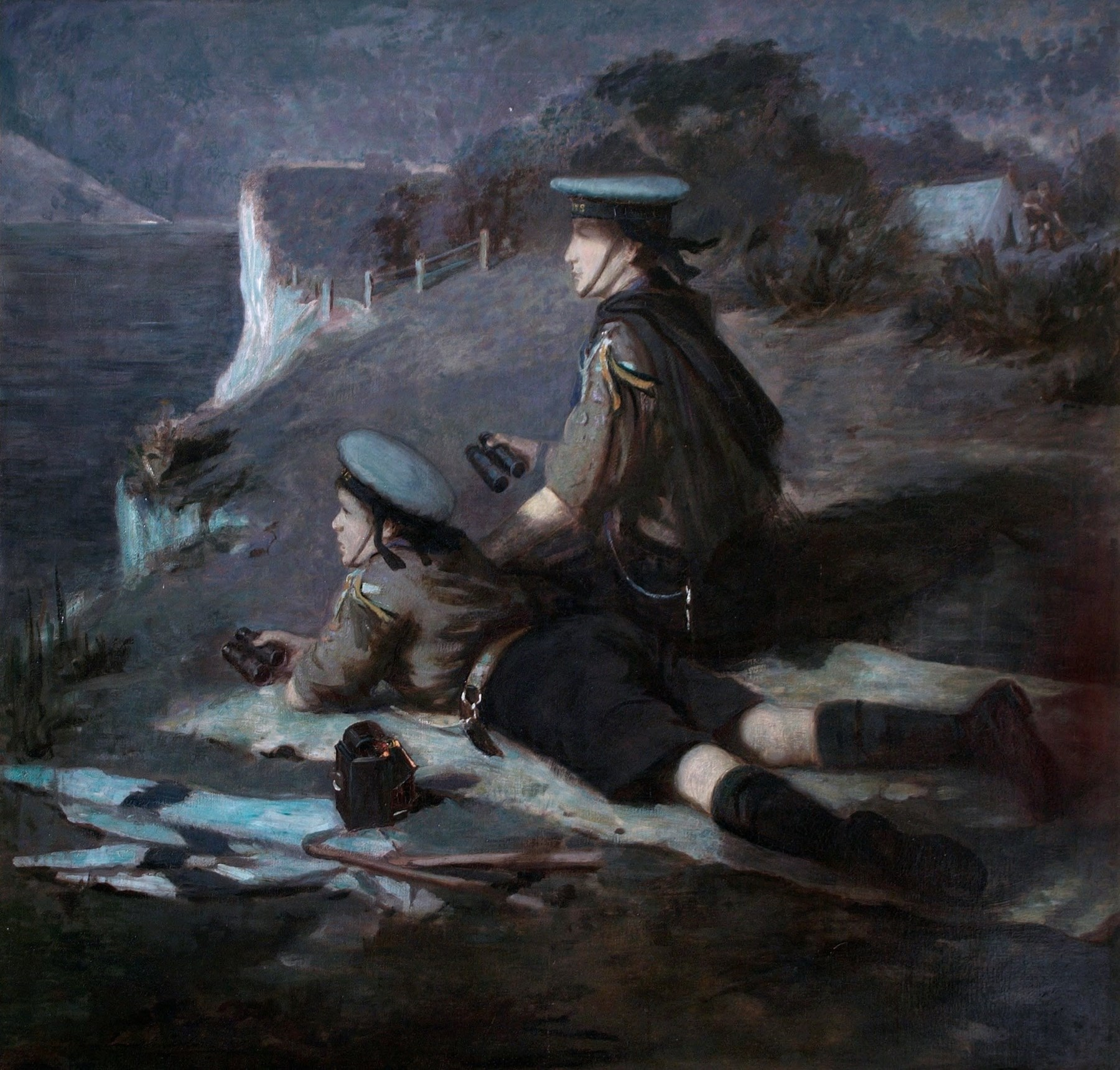 Scout Ernest Stafford Carlos's painting 'Coast Watching'.