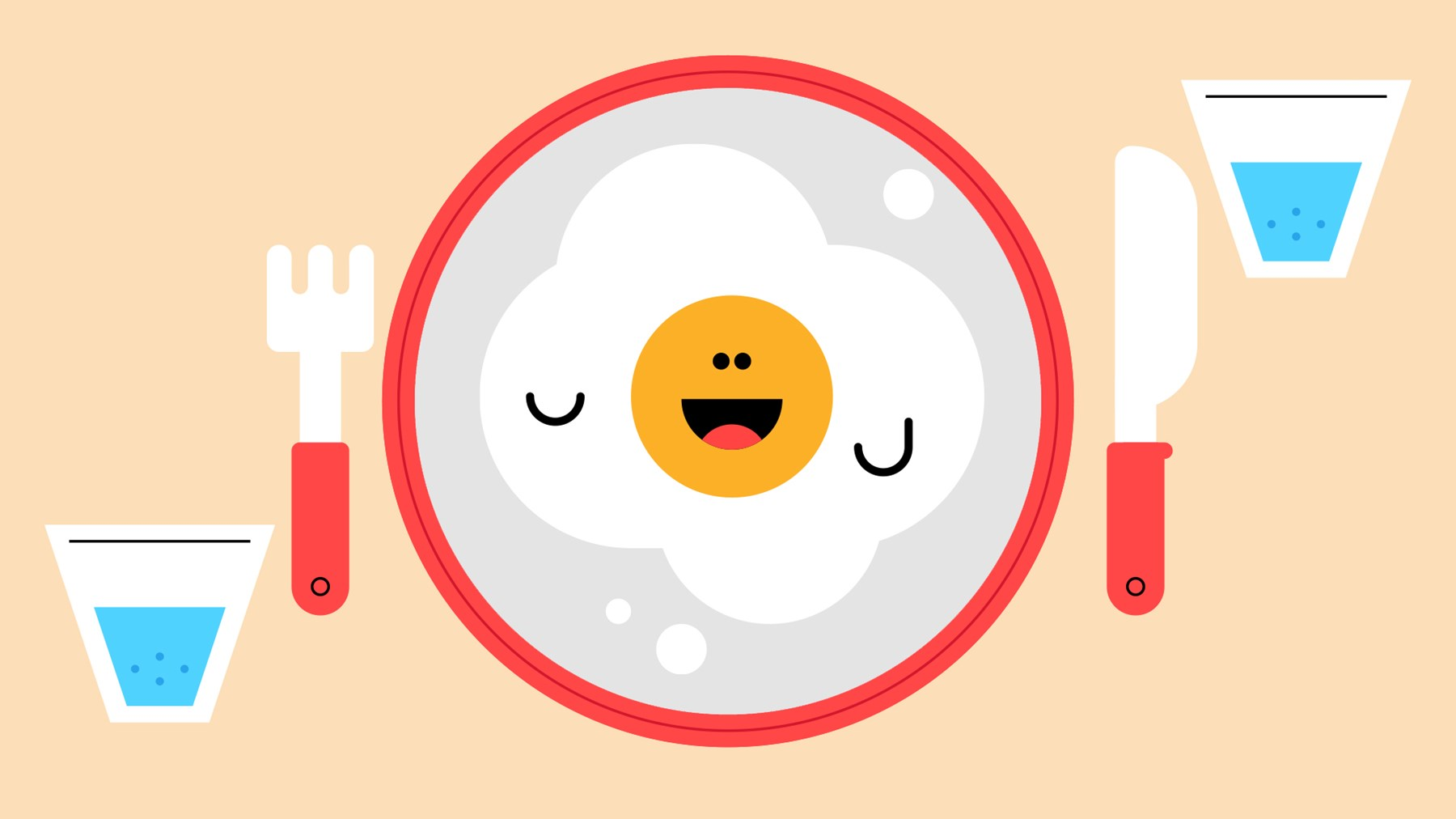 A fried egg is placed in the centre of a plate. It has googly eyes and a large smile.