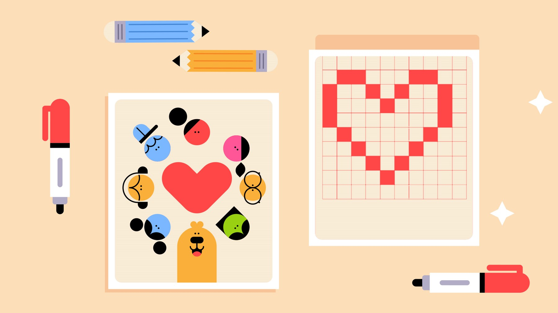 Two pictures; the first is an illustration of a group of Scouts and Buddy the dog surrounding a heart, and the other is a heart created from red-filled squares on a grid.