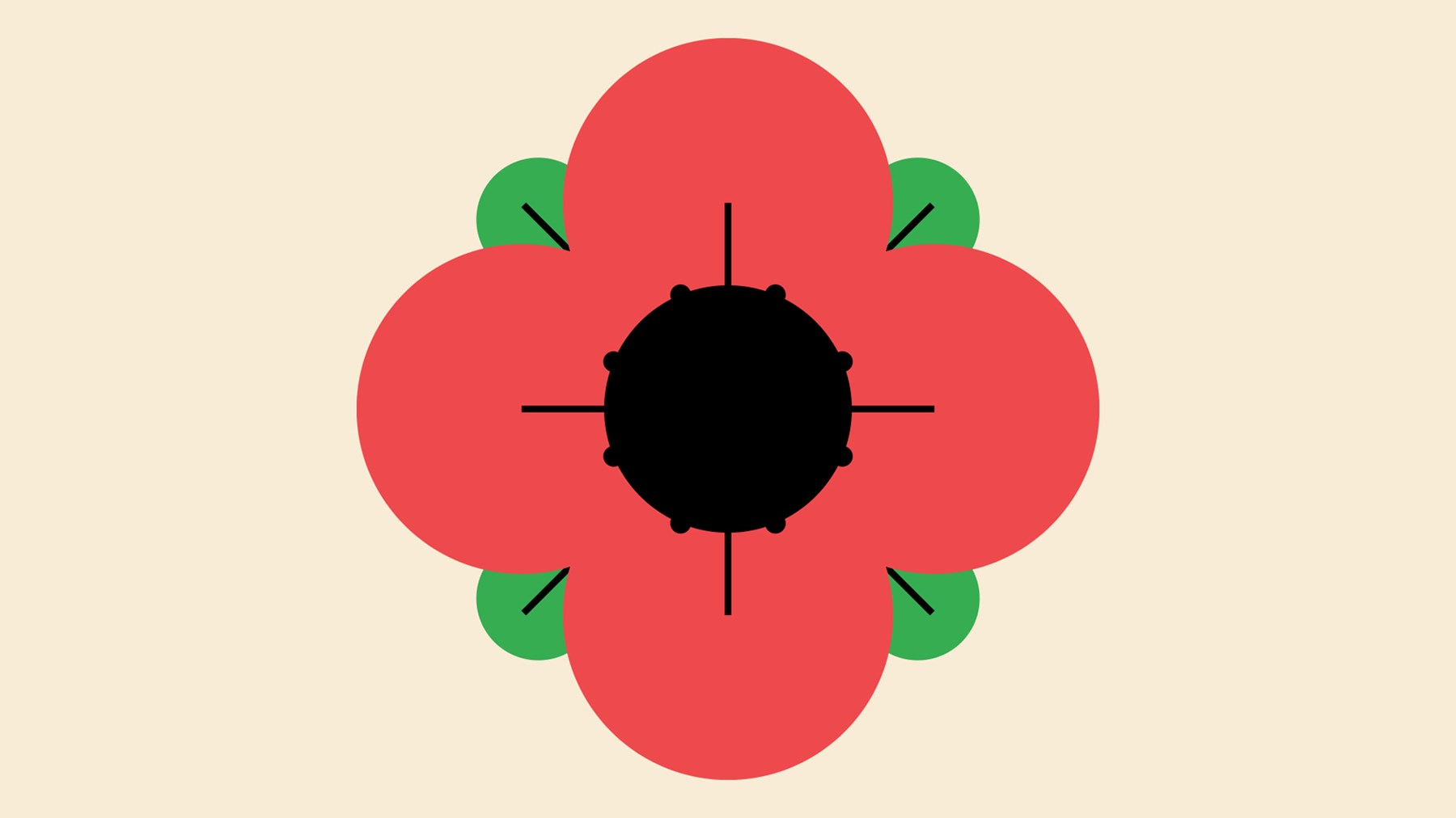 An illustration of a poppy on a magnolia background.