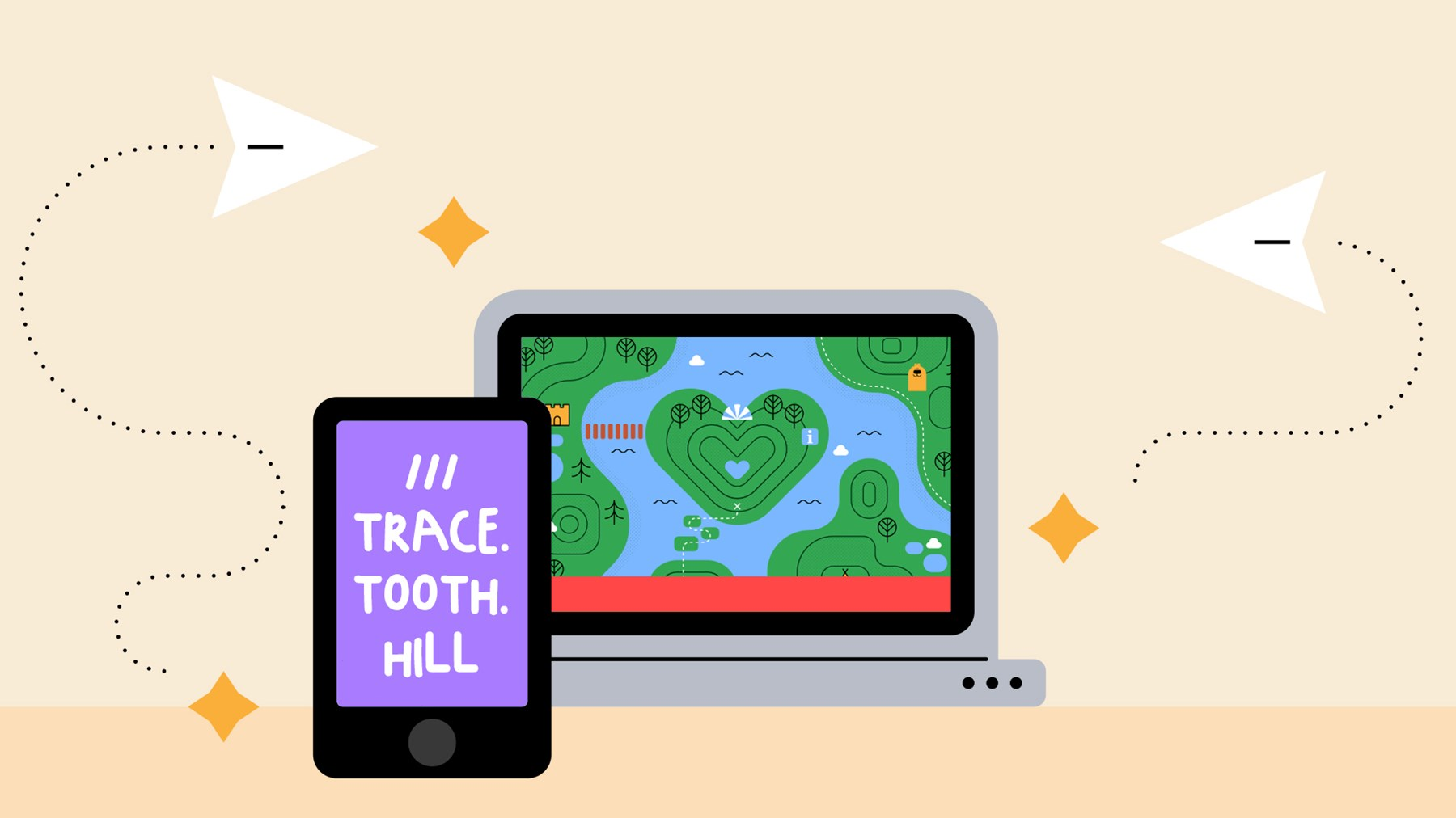 A laptop with an illustration of a heart-shaped woodland area. Leaning against the laptop is a smartphone, with the words 'trace', 'tooth' and 'hill' written on the screen.