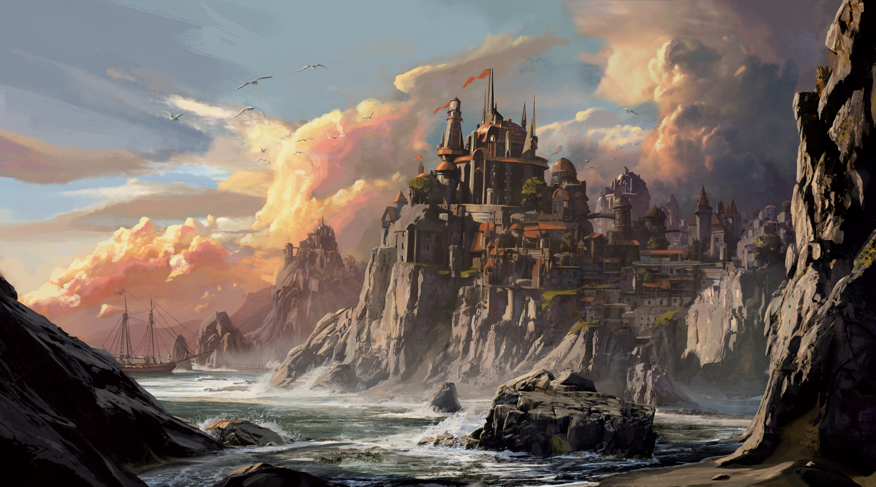An image of a Dungeons and Dragons coastal landscape
