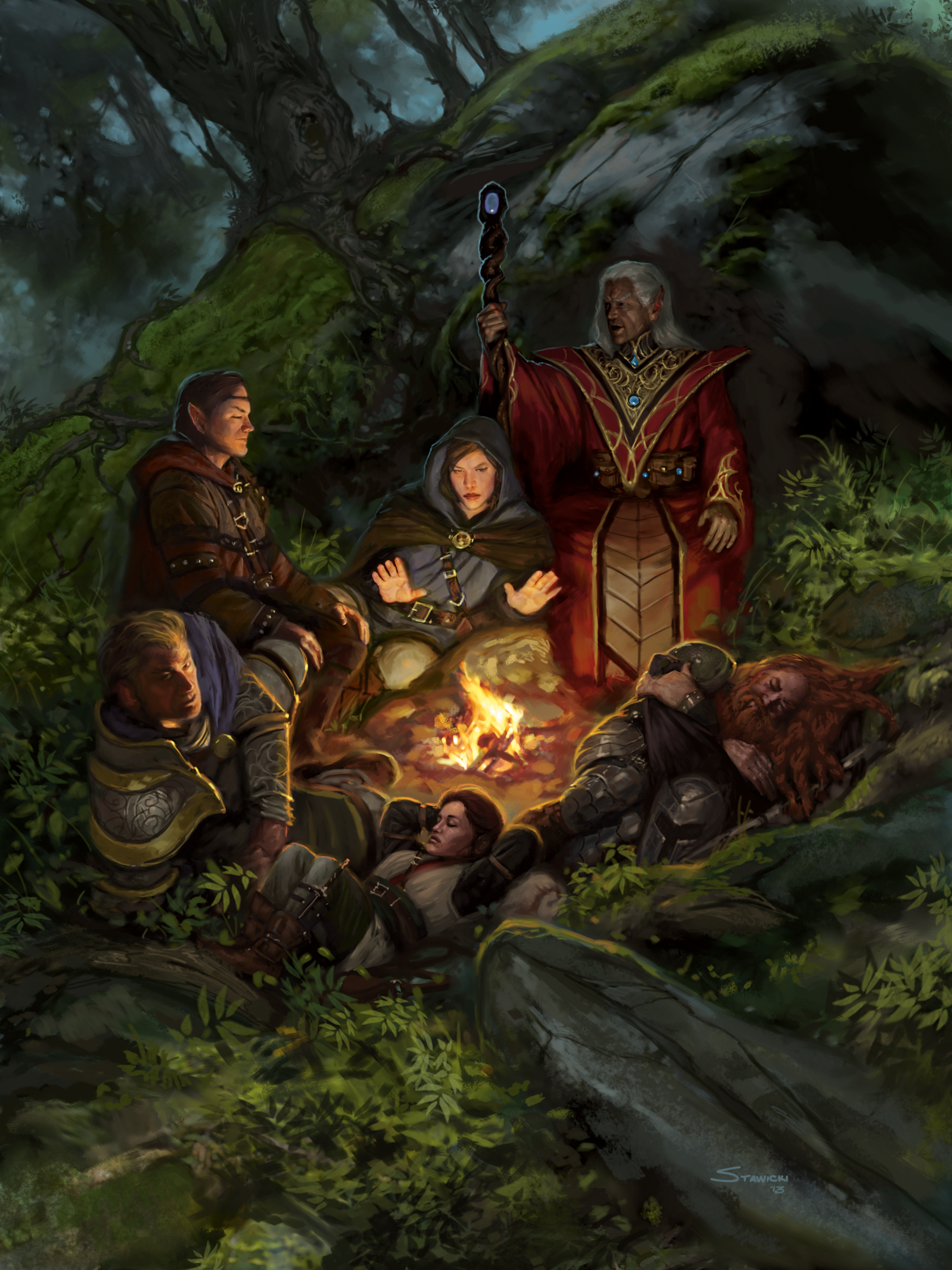 An image of some Dungeons and Dragons characters gathered round a campfire in a forest