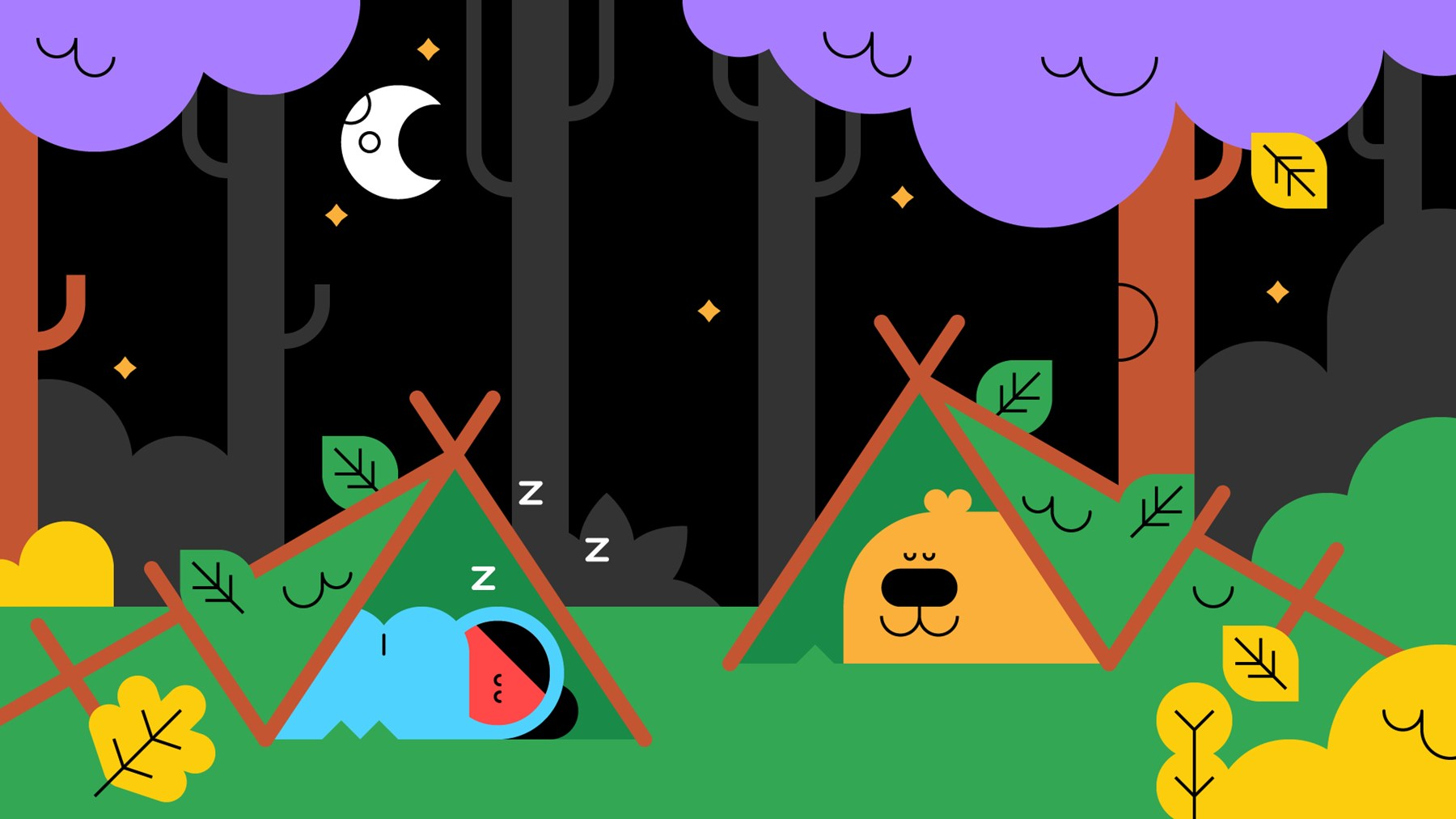 Buddy the dog and a Scout sleeping in tents under the stars.