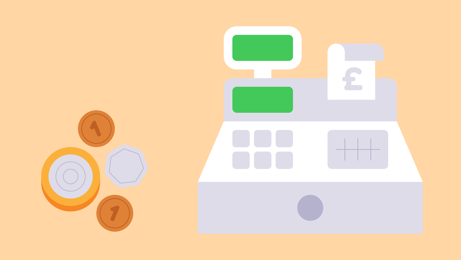 An illustration of some coins next to a cash register.