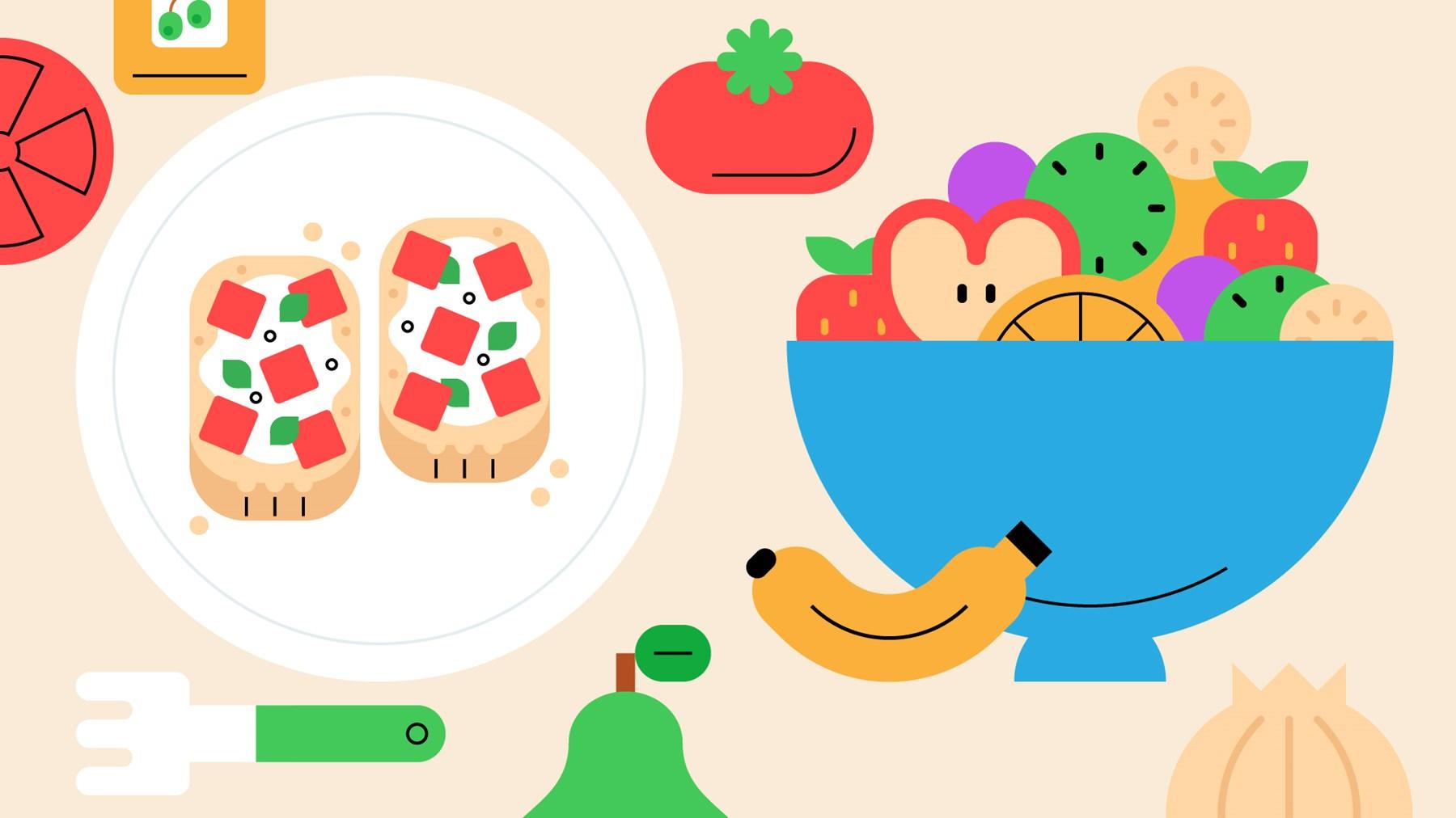 A plate of bruschetta next to a fruit bowl.