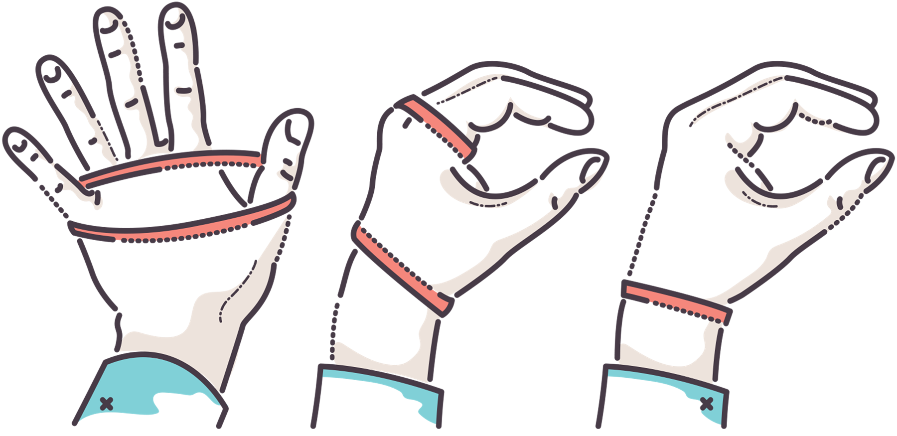 An illustration of elastic bands wrapped around hands.