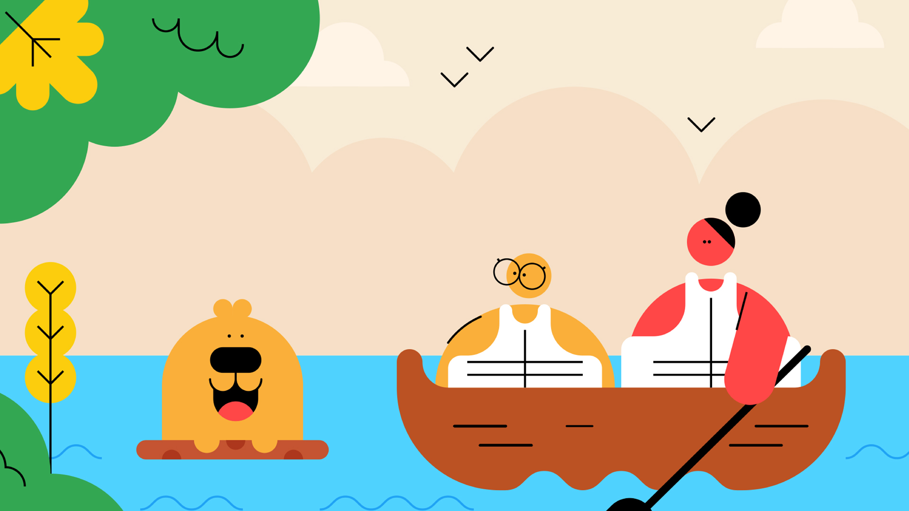 Two Scouts row along in a boat, whilst Buddy the dog floats on a branch beside them.