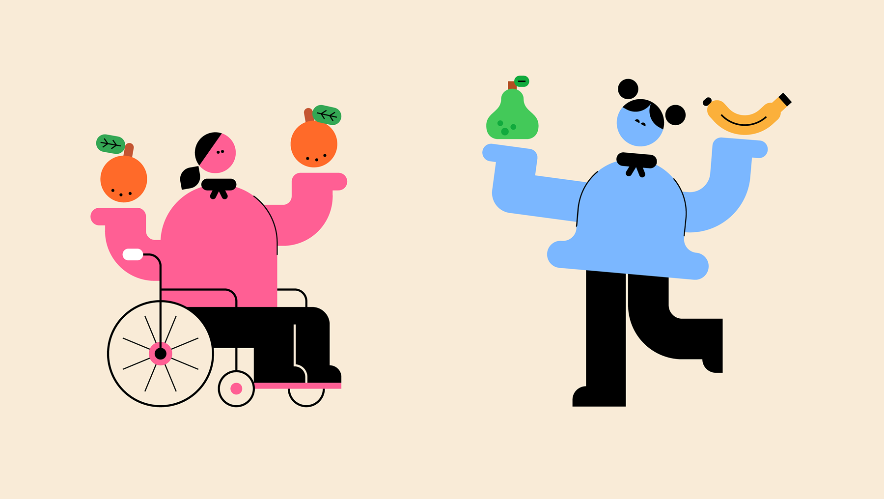 An illustration of two people holding an different fruits in each hand.