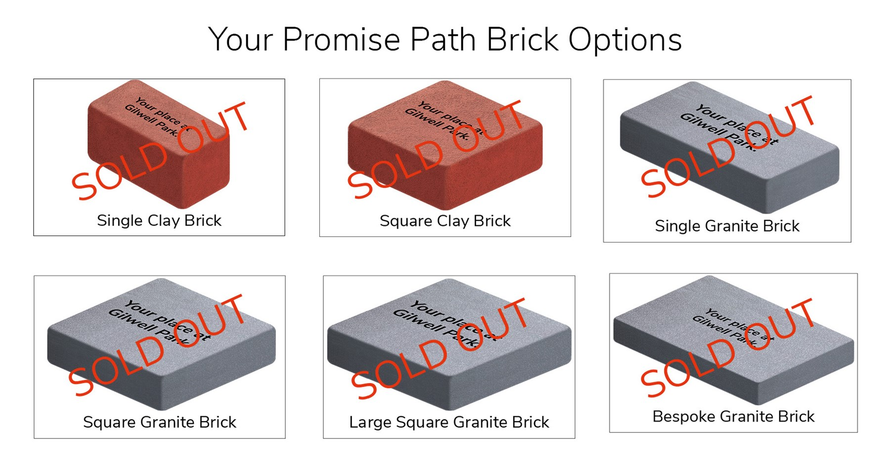 Promise Path brick options - all sold out