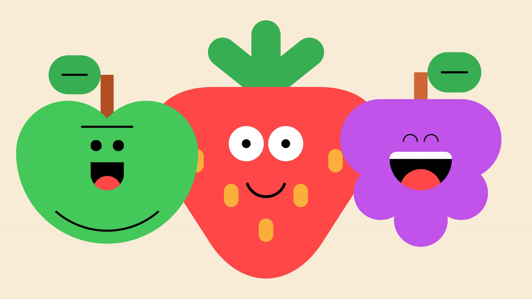 An apple, strawberry and blackberry with large smiles and googly eyes.