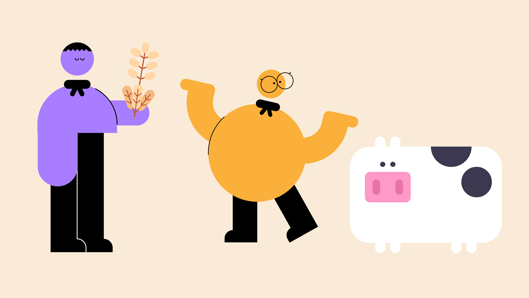 An illustration of two people trading cereal grains for a cow.