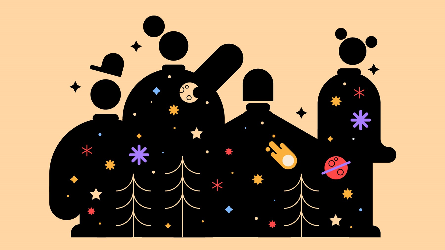 The silhouettes of four Scouts filled with the magical wonders the night sky has to offer; including stars, moons and planets.