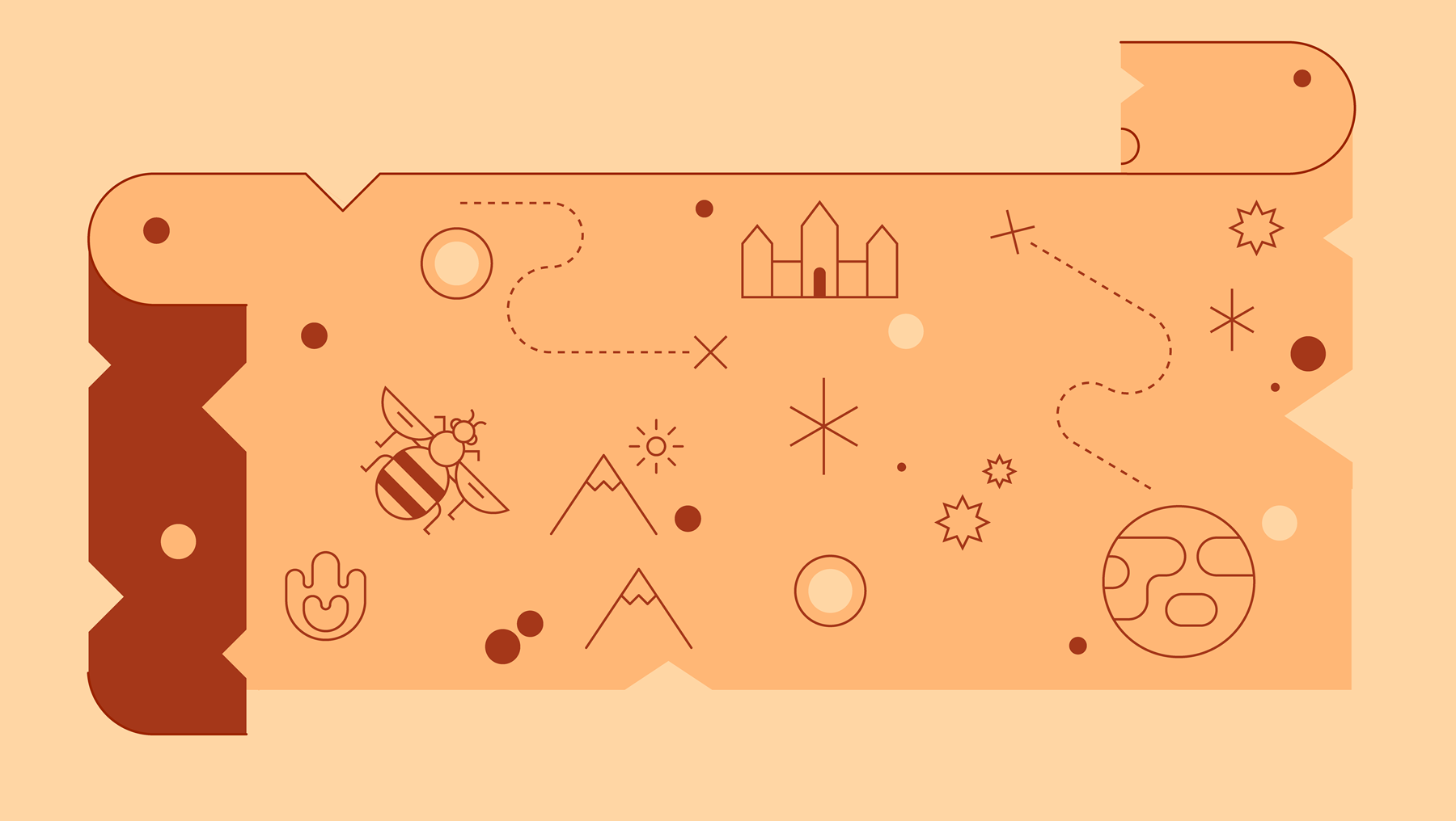 An illustration of leather money, decorated with animals and celestial objects.