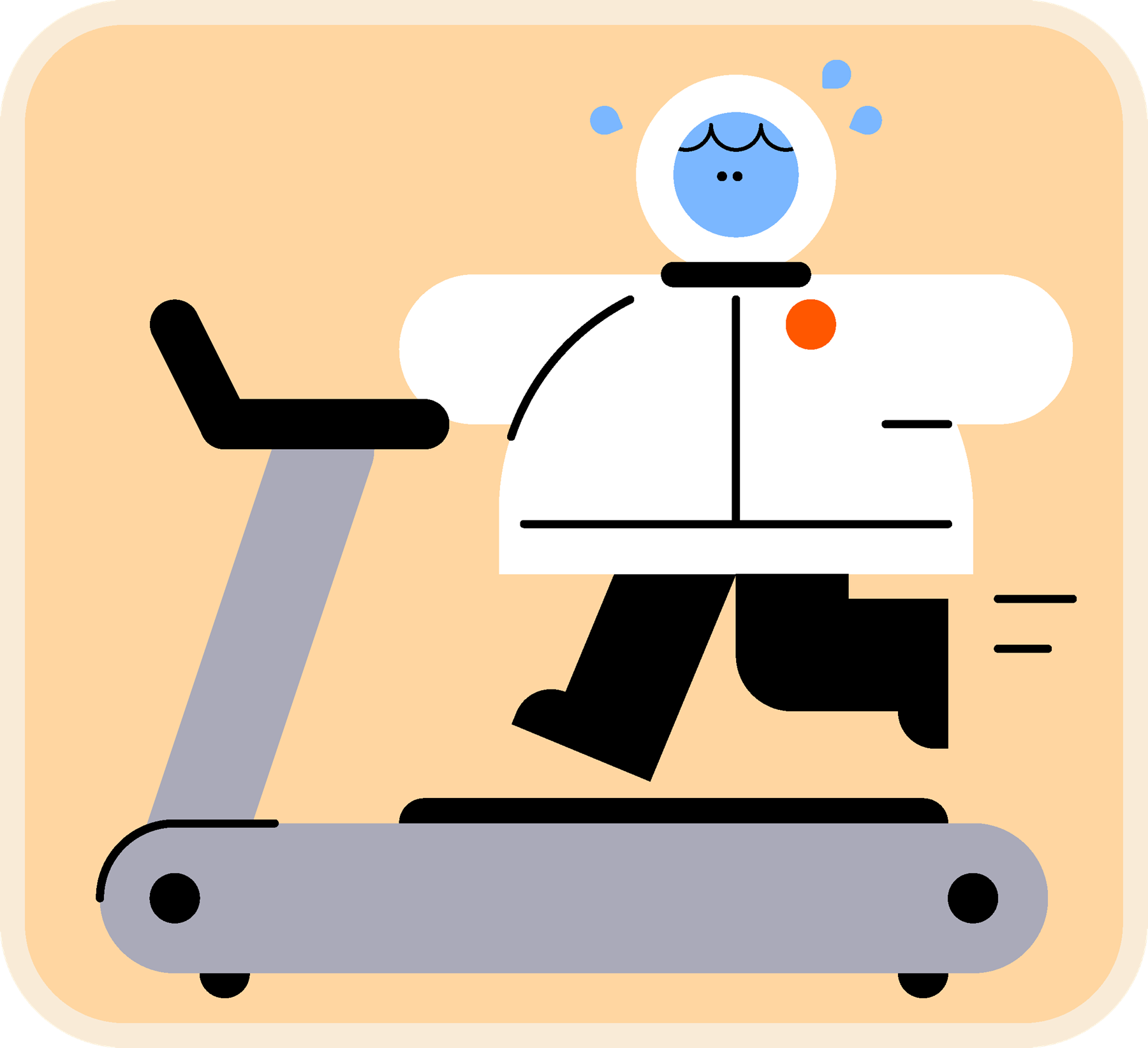A Scout dressed as an astronaut sweats whilst running on a treadmill.