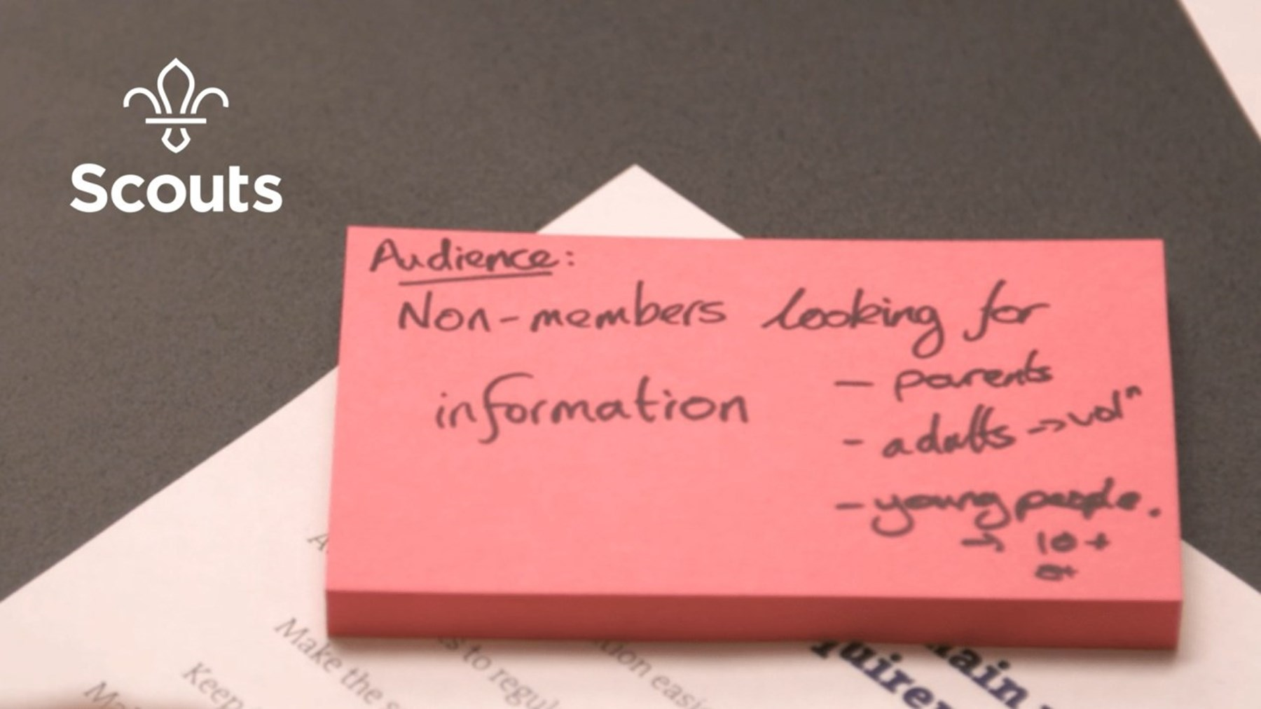 Post it note showing the audience for the website
