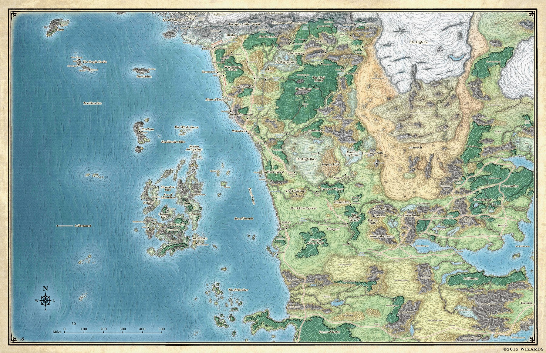 A map of the Forgotten Realms
